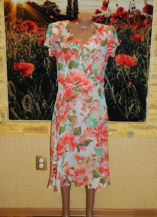 Платье лёгкое розовое с зелёным р. 46-48 msk.