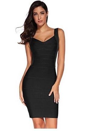 Обнова! платье плаття бандажное мини футляр черное широкие шлеи