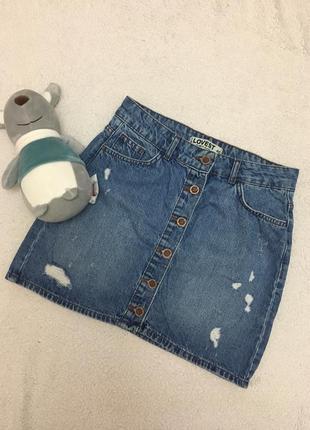 Джинсовая юбочка трапеция юбка джинс 42 s