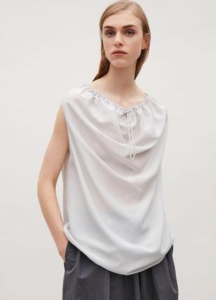 Cos топ блуза блузка летняя 78% шелк с кулиской на вороте размер 34