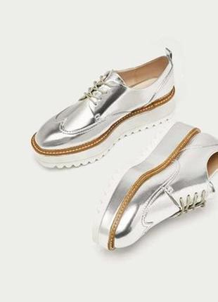 Серебряные туфли,полу ботинки на платформе, криперы zara