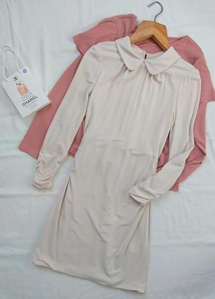 Нереальное нюдовое платье с оборками дорогой бренд karen millen