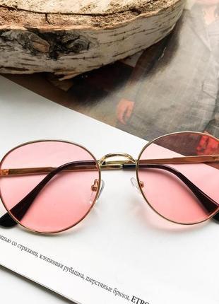 Стильные солнцезащитные очки раунды люкс качества! красные/розовые