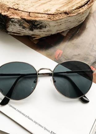 Стильные солнцезащитные очки раунды люкс качества чёрные модель унисекс!