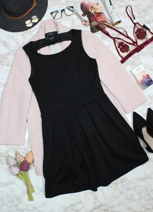 Обнова! платье плаття а-силуэт в рубчик вырез на спине черное