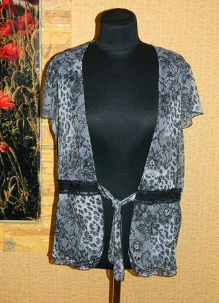 Блуза серая с блестящей ниточкой расцветка кружево р. 48-50 notations