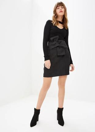 Эффектная графитовая юбка с интересным переплетом, высокая посадка lost ink 50-52