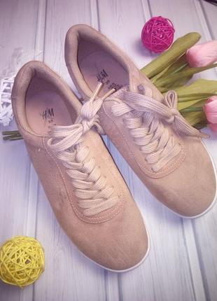 Кроссовки, сникерсы под замшу, экокожа, шнуровка, h&m