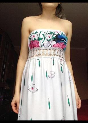Платье в пол,белое в цветок,вискоза,летнее легкое воздушное,