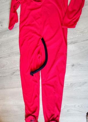 Классный кигуруми комбинезон пижама красный флисовый