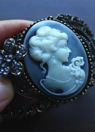Винтажный браслет с девушкой, камея, регулируемый размер