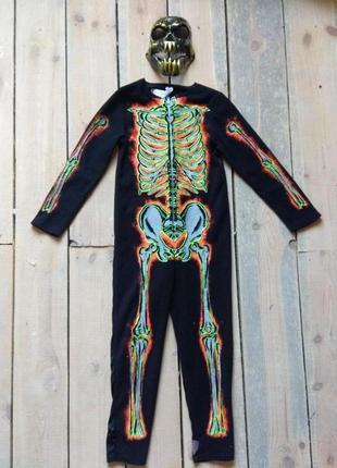 Карнавальный костюм 11-12 лет скелет с маской на хэллоуин