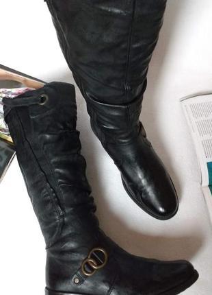 """Утепленные удобные сапоги на низком каблуке с эластичной вставкой """"rieker"""""""