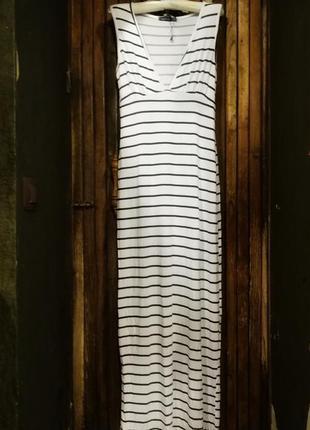 Яркое платье из вискозы boohoo в полоску длинное в пол