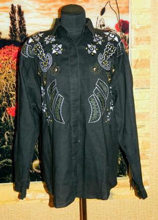 Рубашка блуза женская черная с вышивкой размер 52-54 four seasons.