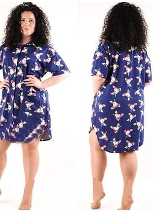 Большой размер! стильное платье-рубашка, халат с зайками для дома 54/56