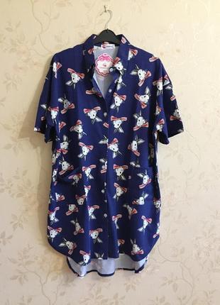 """Платье рубашка """"зайки"""" для дома, батал, большой размер, 52-54 (2xl)"""