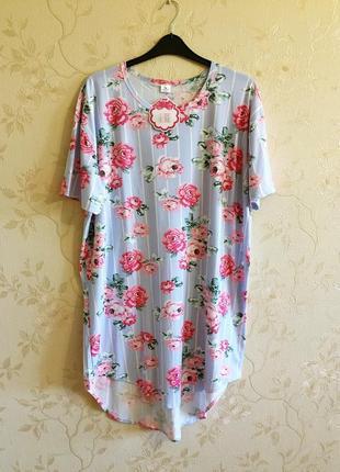 Туника платье для дома в полоску, батал, большой размер, 52-54