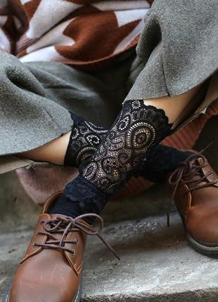 Трендовые носки/носочки/кружево/сетка/черный/новая коллекция