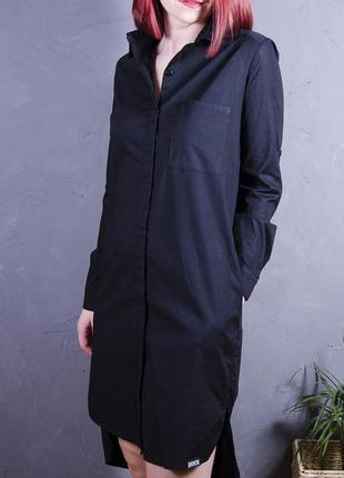 Длинное черное платье-рубашка h&m, платье миди, размер s,