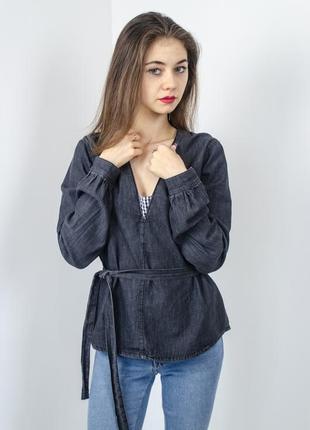 Asos выбеленная серая джинсовая блуза с v-образным вырезом и поясом, джемпер, кофта