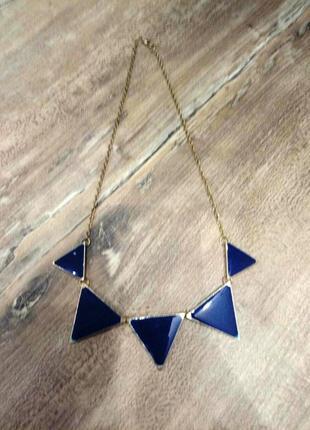 Колье ожерелье бижутерия  синего  и золотого цвета