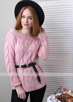 🌸скидки🌸 свитер с открытыми спущенными плечами с косами оверсайз розовый пудровый пудра
