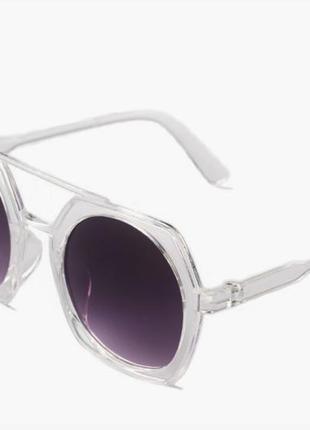 Уценка большие многоугольные солнцезащитные очки гранды прозрачная оправа линзы градиент