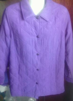 Красивая новая с биркой фиолетовая стеганая куртка евро 40 укр 48-50 на весну-осень