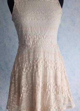 Кружевное платье цвета пыльной розы размер uk 10