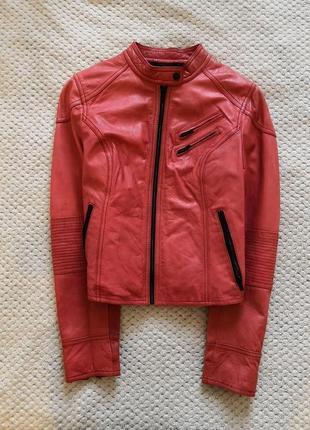Крутая кожаная мото куртка косуха