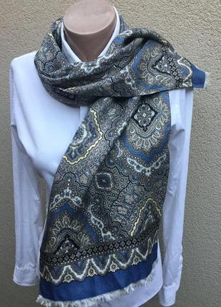 Винтаж,шелковый ,двойной шарф с бахромой,унисекс
