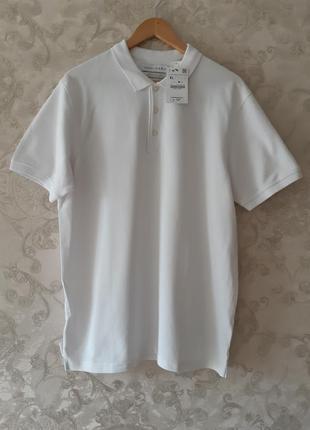 Чисто белое поло zara , белая мужская футболка zara, тениска zara!