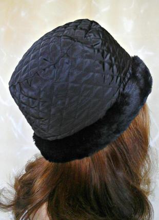 Стильная болоньевая шляпка, шапка с меховым отворотом, р.56-58