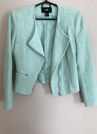 Пиджак косуха куртка жакет мятного цвета от h&m размер xs s h&m