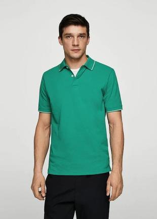 Хлопковая футболка поло зеленого цвета