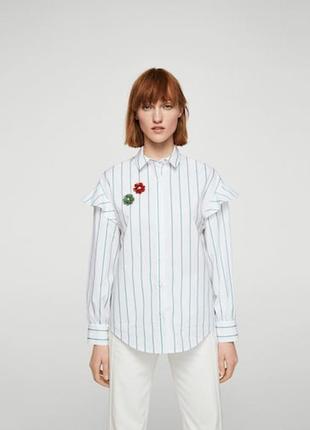 Рубашка в полоску mango с брошками m-l