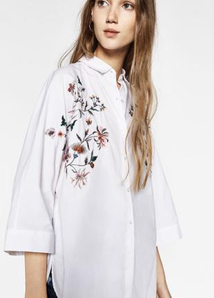 Блузка рубашка с вышивкой оверсайз размер 14 zara