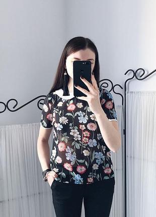 Блуза в цветы atmosphere в маки чёрная