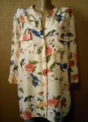 Блузка рубашка красивый летний принт размер 16 f&f