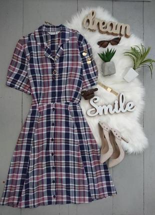 Актуальное винтажное миди платье в клетку №492