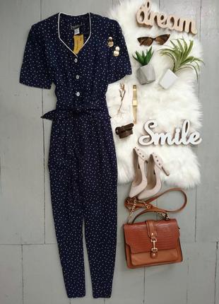 Актуальный винтажный ретро комбинезон ромпер в горох в стиле 50-х pin-up №3
