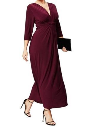 Эффектное макси платье умеренного а-силуэта, с  v-вырезом plus 2x (маломерит) на 50-52