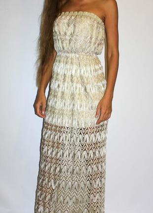 Платье в пол, красивая вязанная ткань, красивый цвет!