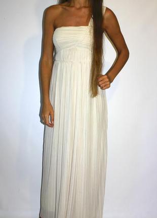 Платье в пол на одно плечо h&m  , ткань плиссе - красивый цвет