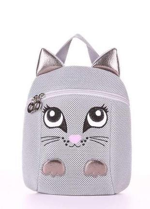 Крутой текстильный рюкзак кот для девочки мини рюкзачок котик
