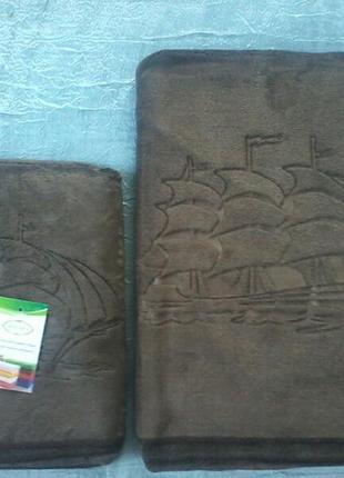 Комплект полотенец велюр-микрофибра 1,4х0,7 и 1,0х0,5 см  коричневый