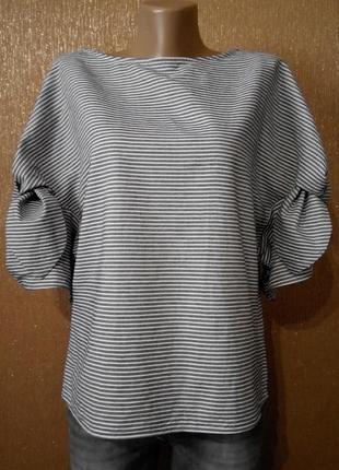 Блузка в полоску с шикарными рукавами размер 12 topshop