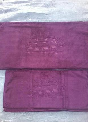 Комплект полотенец велюр-микрофибра  1,4х0,7 и 1,0х0,5 см  темный фиолетовый
