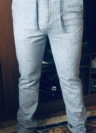 Штаны брюки мужские летние льняные синие голубые прямые штани чоловічі літні